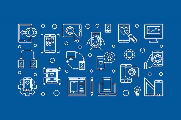 Aplikacja mobilna rozwoju wektor zarys poziomy ilustracja