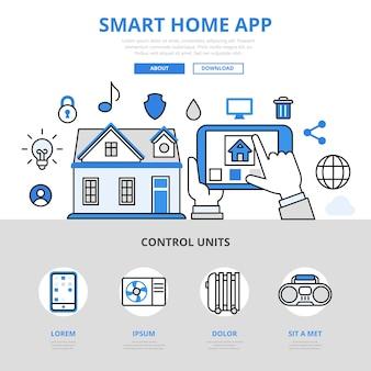 Aplikacja mobilna smart home aplikacja zarządzająca temperaturą światła czujnika temperatury wody grzewczej koncepcja linii płaskiej.