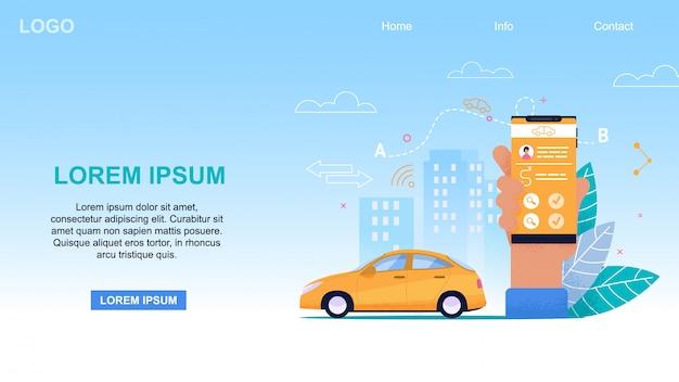 Aplikacja mobilna taksówka. żółta kabina