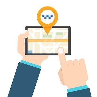 Aplikacja mobilna taxi. ręką człowieka posiada tablet.