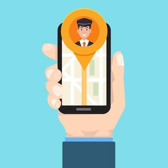 Aplikacja mobilna taxi. ręka mężczyzny posiada smartphone.