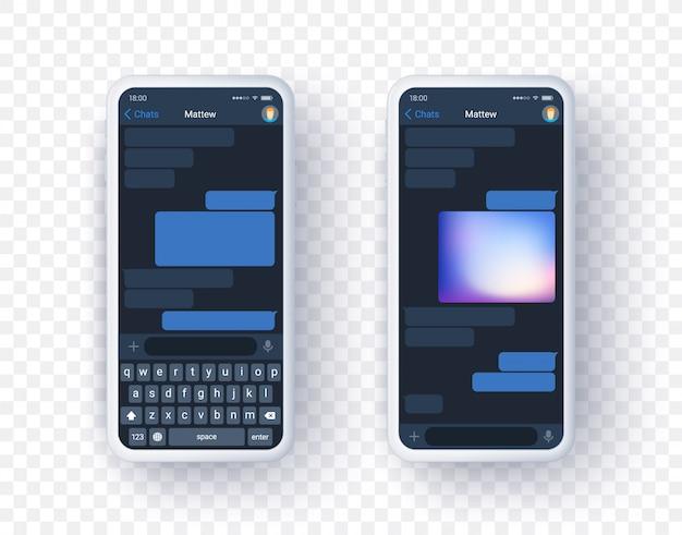 Aplikacja mobilnego komunikatora na dwóch ekranach z klawiaturą. realistyczna koncepcja czatu aplikacji czatu