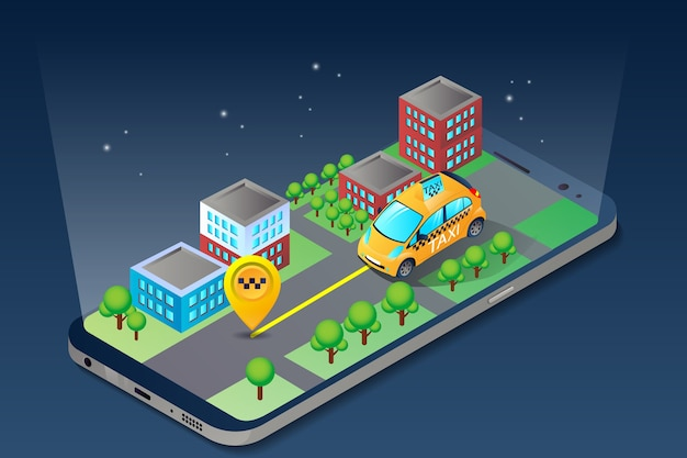 Aplikacja mobilnej taksówki online w izometrycznym mieście