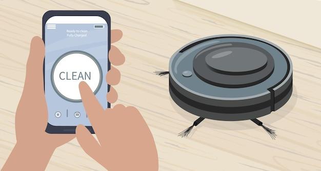 Aplikacja na smartfona do sterowania robotem odkurzającym