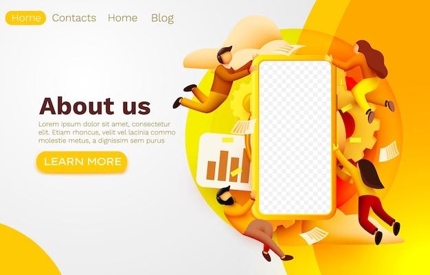 Aplikacja na smartfona i ludzie latają, baner internetowy na urządzenia mobilne