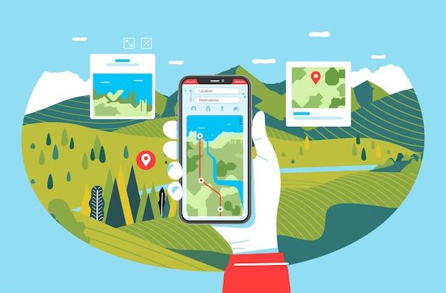 Aplikacja na telefon do podróży i pieszych wędrówek, ilustracja ręka trzymająca telefon z krajobrazem przyrody w tle. u