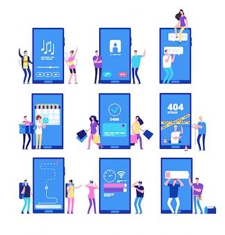 Aplikacja na telefon i ludzie. małe płaskie znaki wchodzą w interakcję z zestawem aplikacji na smartfona