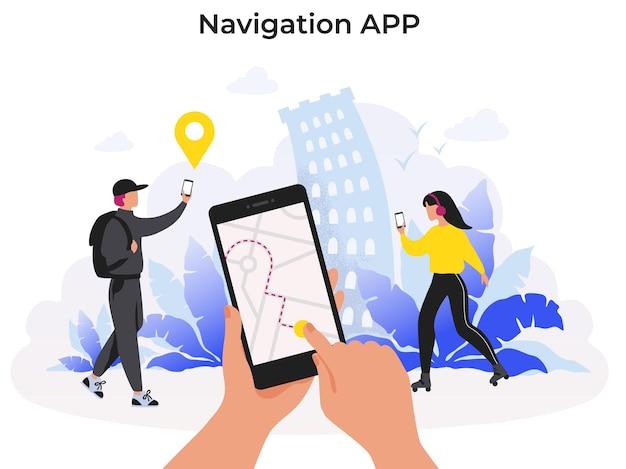 Aplikacja nawigacyjna. aplikacja mobilna z mapą trasy do dostawy jedzenia lub paczki na smartfonie