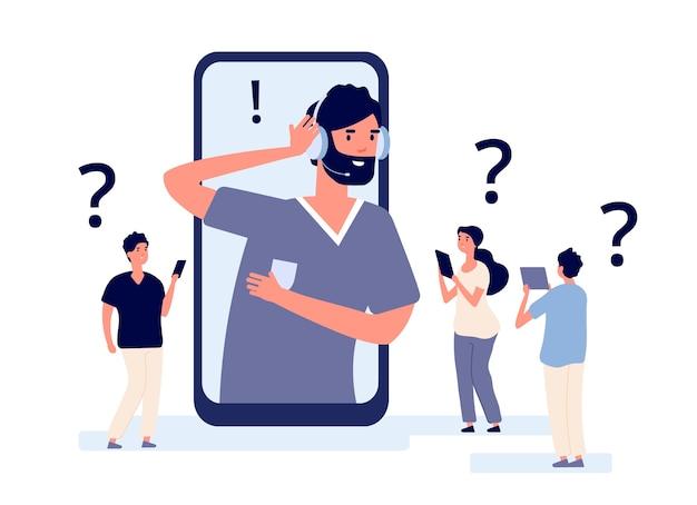 Aplikacja obsługi klienta. specjaliści pomagają klientowi ze smartfonem. ilustracja komunikacji telemarketingowej. obsługa klienta, pomoc online, pomoc w kontakcie