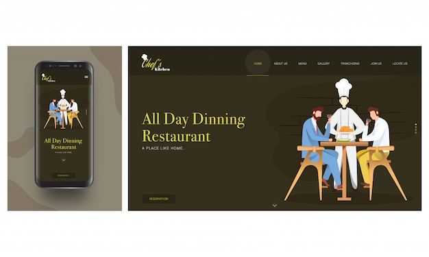 Aplikacja online restaurant w smartfonie z szefem kuchni serwującym kurczaka do klienta siedzącego na stole.