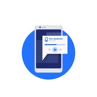 Aplikacja podcast w ikonie telefonu