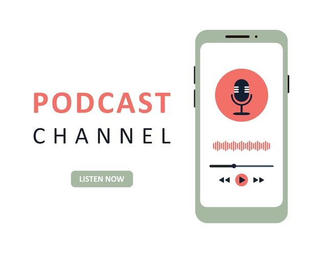 Aplikacja podcast w telefonie komórkowym. koncepcja publiczności podcastu.