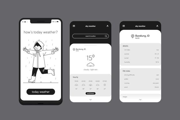 Aplikacja Pogodowa Na Telefon Komórkowy Darmowych Wektorów
