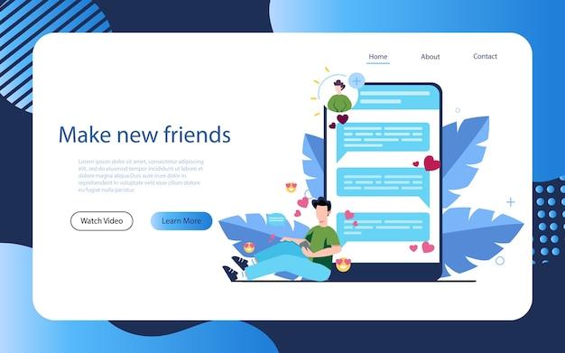 Aplikacja randkowa i komunikacyjna online. wirtualne relacje i przyjaźń. komunikacja między ludźmi poprzez sieć na smartfonie.