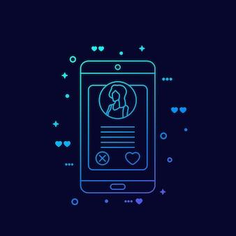 Aplikacja randkowa online, profil dziewczyny na ekranie smartfona