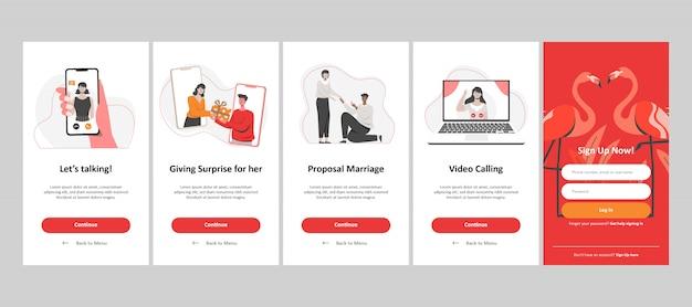 Aplikacja randkowa online, propozycja małżeństwa, dawanie prezentu i rozmowy wideo. płaska ilustracja.