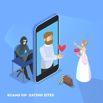 Aplikacja randkowa online. wirtualny związek i miłość.