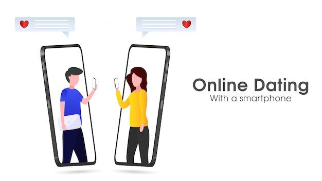 Aplikacja randkowa online ze smartfonem