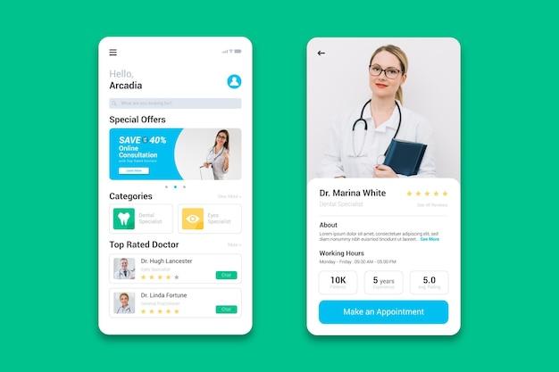 Aplikacja rezerwacji medycznej ze zdjęciem
