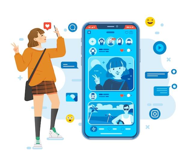 Aplikacja selfie w mediach społecznościowych, młode kobiety robią selfie i przesyłają do ilustracji w mediach społecznościowych
