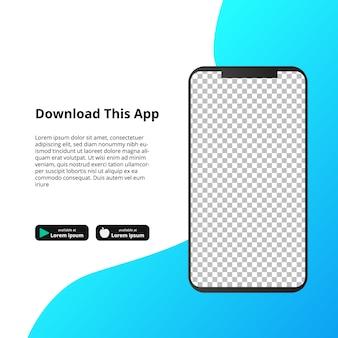Aplikacja smarthphone z przezroczystym ekranem do pobierania oprogramowania.