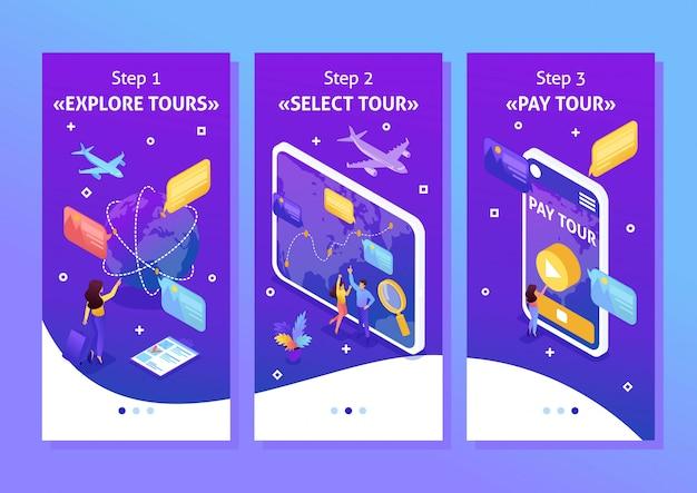 Aplikacja szablon izometryczny jasna koncepcja turyści patrzą na glob i wybierają kierunek relaksu, aplikacje na smartfony. łatwy do edycji i dostosowania