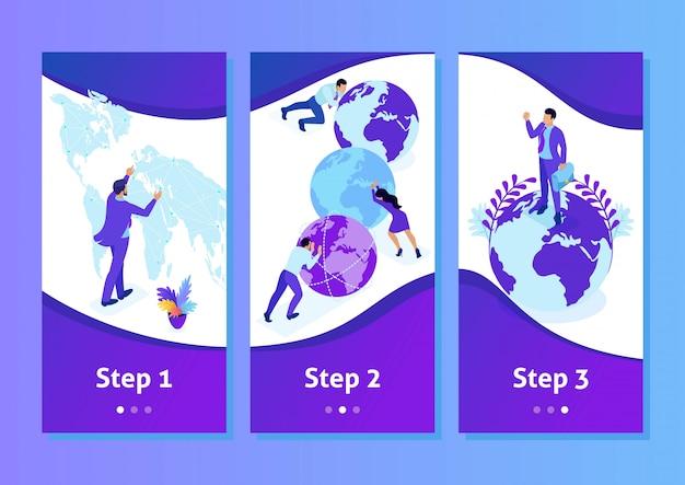 Aplikacja szablon izometryczny wielki biznesmen działa na świecie, mapa świata, aplikacje na smartfony. łatwy do edycji i dostosowania