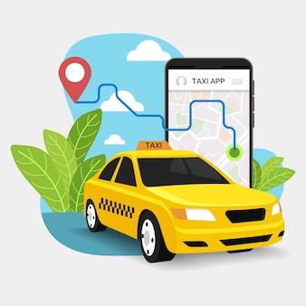 Aplikacja taksówki usługi transportowej