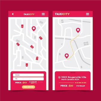 Aplikacja taxi szablon interfejsu