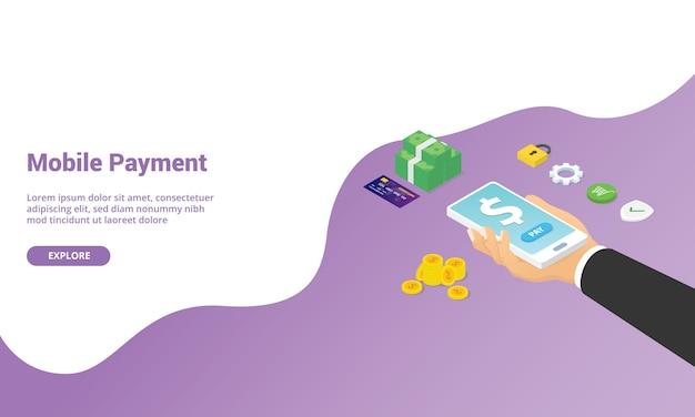 Aplikacja technologii płatności mobilnych na stronę główną lub baner szablonu strony internetowej w stylu izometrycznym