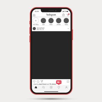 Aplikacja ux szablonu posta na instagramie