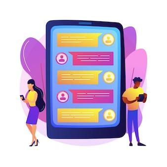 Aplikacja wiadomości streszczenie ilustracja koncepcja. aplikacja do wysyłania sms-ów na komputer, aplikacja do czatu na telefon komórkowy, komunikator mobilny, komunikator społecznościowy, rozmowa wideo, sms.
