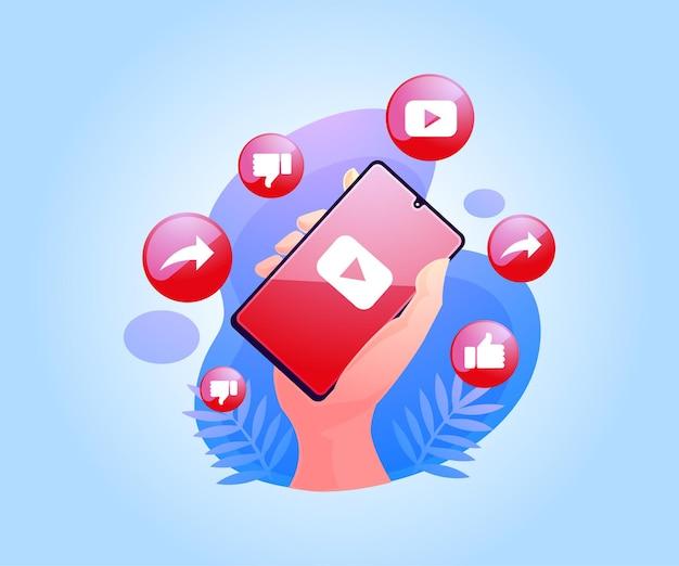 Aplikacja Youtube W Mediach Społecznościowych Na Smartfonie Premium Wektorów