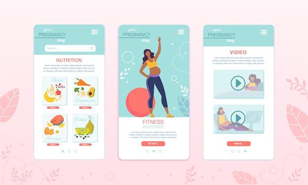 Aplikacja zdrowe jedzenie i fitness dla kobiet w ciąży