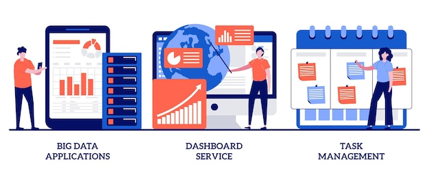 Aplikacje big data, usługa pulpitu nawigacyjnego, koncepcja zarządzania zadaniami z małymi ludźmi. zestaw do optymalizacji zarządzania projektami firmy. automatyzacja działań biznesowych.