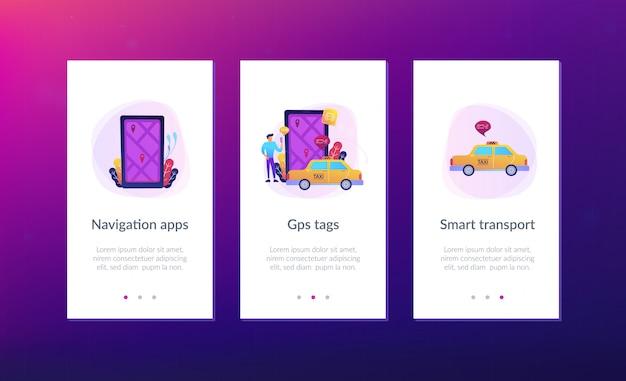 Aplikacje do nawigacji po mieście, szablon interfejsu inteligentnego miasta.