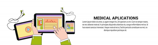 Aplikacje medyczne health care mobile application concept szablon poziomy baner