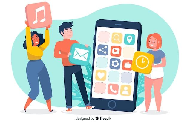 Aplikacje mobilne ilustrują koncepcję strony docelowej