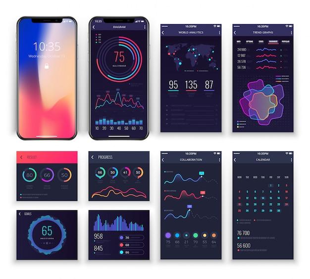 Aplikacje mobilne interfejsu ux szablony z wykresami i diagramami.