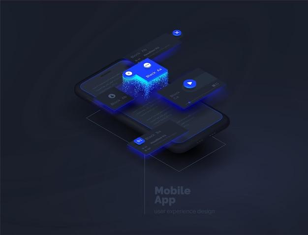 Aplikacje mobilne tworzenie aplikacji mobilnej strona internetowa tworzona z osobnych bloków interfejs użytkownika user experience układy aplikacji mobilnej według warstw nowoczesna ilustracja wektorowa