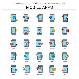 Aplikacje mobilne zestaw ikon linii płaskiej