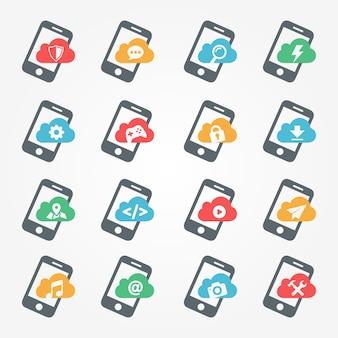 Aplikacje na smartfony zestaw ikon funkcji