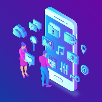 Aplikacje społecznościowe na smartfonie. media społecznościowe 3d izometryczny.