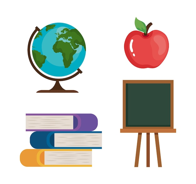 Apple books green board and world sphere design, happy teacher day celebration and education theme