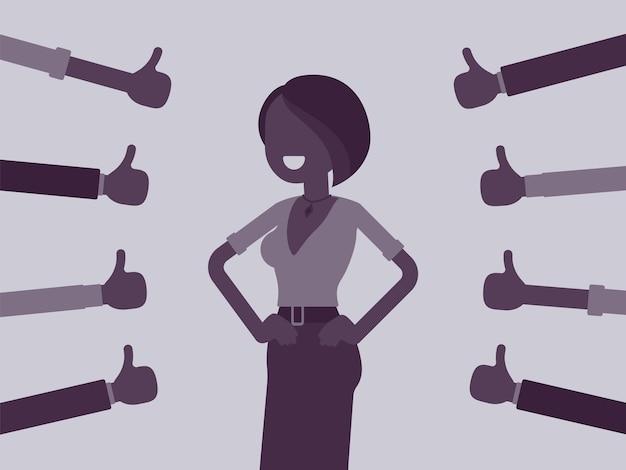 Aprobata, pochwały i pochwały, kciuki aprobujące szczęśliwą kobietę. gesty dłoni okazujące przyjazny szacunek, uznanie biznesowe, dobra robota, symbol umowy. ilustracja wektorowa, postać bez twarzy