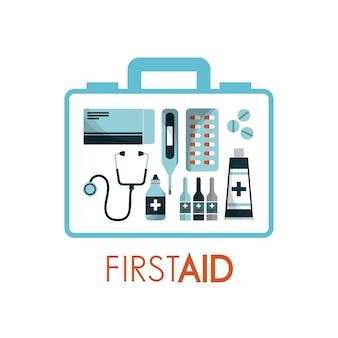 Apteczka pierwszej pomocy ze sprzętem medycznym