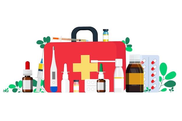 Apteczka z lekami na gardło, lekiem na przeziębienie, termometrem, tabletkami, strzykawką do wstrzykiwań. ludzie gromadzą lekarstwa w apteczce pierwszej pomocy. ilustracja wektorowa