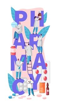 Apteka business online drug store character typografia banner. opieka farmaceuty nad pacjentem. profesjonalny przemysł medyczny dla reklamy opieki zdrowotnej pionowy plakat płaski ilustracja kreskówka wektor
