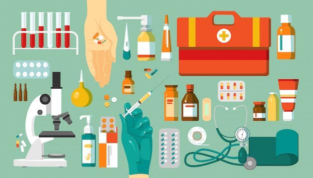 Apteka i leki, leki zestaw ikon, ilustracje. obiekty medyczne, medycyna w koncepcji farmacji. pigułki, lekarstwa, mikroskop i apteczka, butelki.