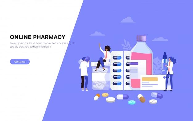 Apteka internetowa, ilustracja, farmaceuta udziela porad i przyjmuje leki klientowi, strona docelowa, szablon, interfejs użytkownika, sieć, aplikacja mobilna, plakat, baner, ulotka